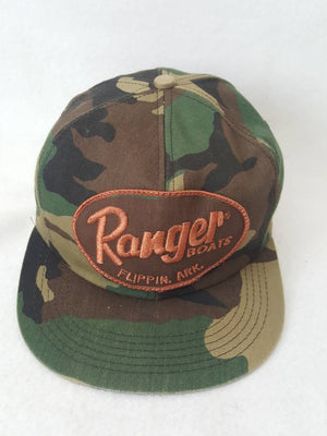 Vtg Ranger boats Camo snapback hat cap woodsmen hunting k products brand Made in USA