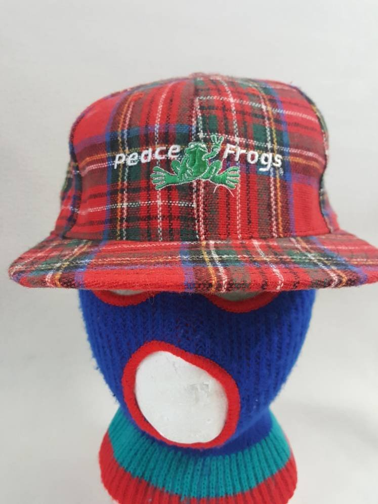 Vtg Peace Frog Wool  Plaid snapback made in usa