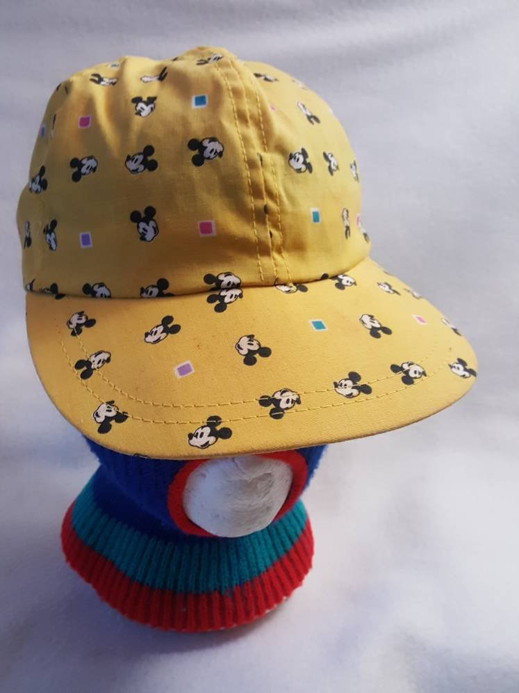 9fb5c5ed 80s Mickey Mouse All over print flex hat Walt Disney Cartoons made in USA  Character fashion