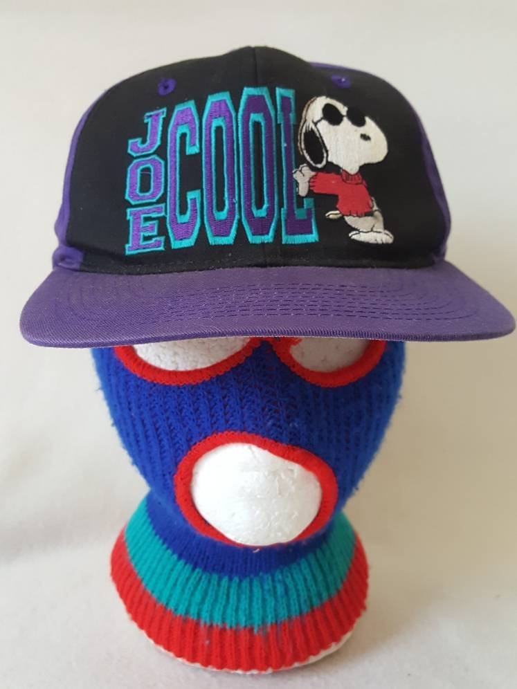 Vtg Peanuts Snoopy Joe Cool Cartoon snapback hat  Charlie Brown 1958 1971