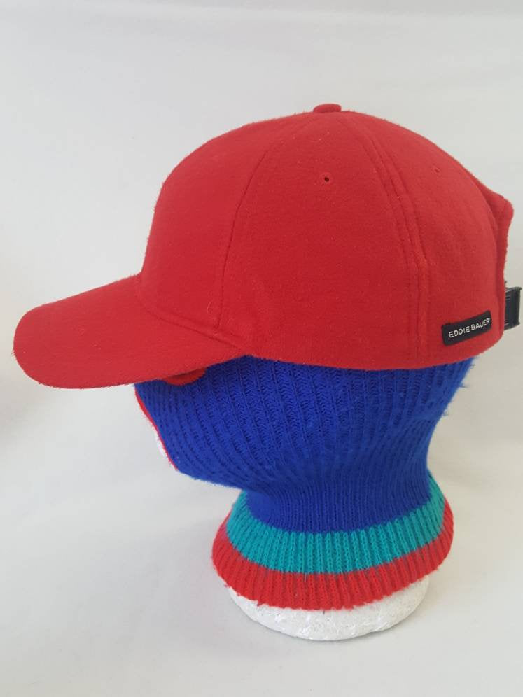 Vtg Eddie Bauer Red Fleece  dad hat made in USA