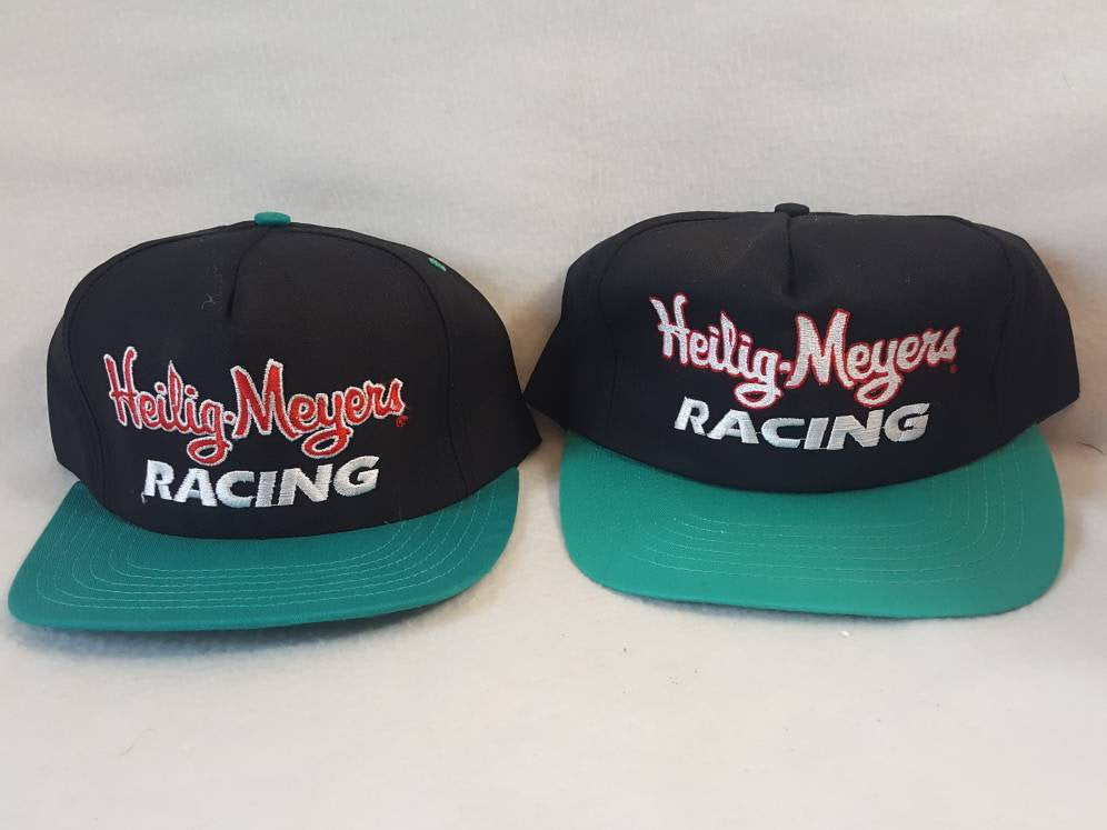 2 Vintage Helig Meyers script racing  90s Nascar snapback  hat cap made in usa