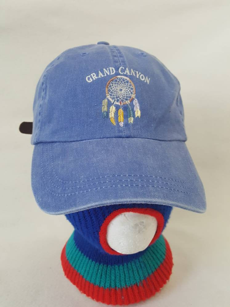 Vtg Grand Canyon Dreamcatcher dad hat leather strapback Arizona Utah