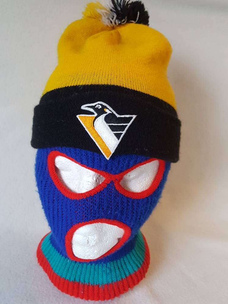 Vtg Pittsburgh Penguins winter knit beanie  big kids Adult  Small NHL  Lemieux Crosby