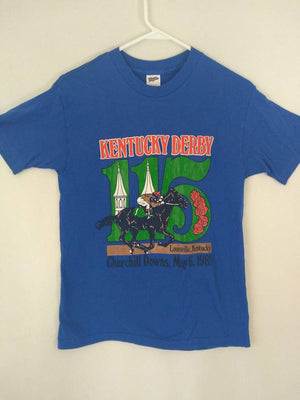Vtg 80s Kentucky Derby 115  1989 blue t shirt made in USA horse equestrian