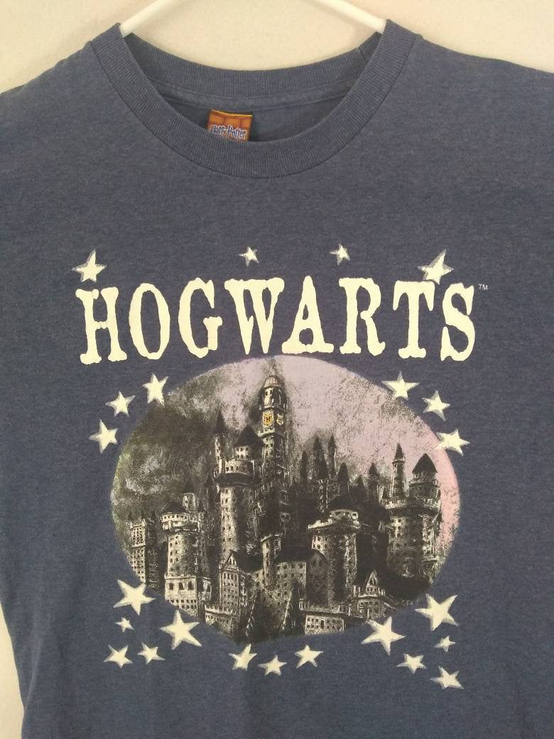 Vintage Hogwarts  Harry Potter  blue t-shirt sz XL