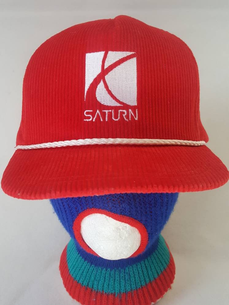 Vtg Saturn Cars Corduroy snapback hat cars made in USA