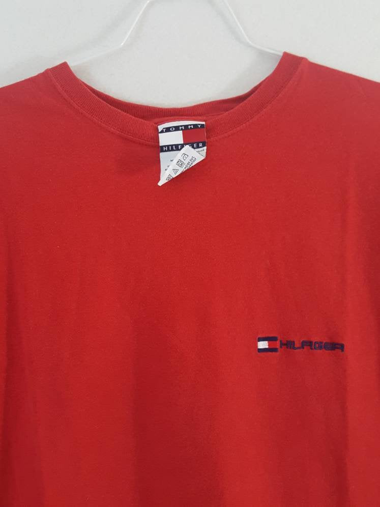 Vtg Tommy Hilfiger Red Shirt Size XL Tommy Flag
