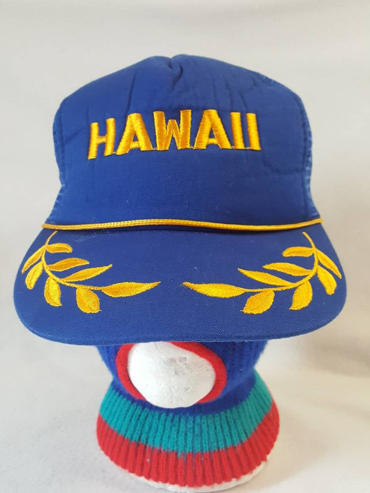 Vintage Hawaii  blue and gold snapback hat Trucker cap Hawaiian Headwear