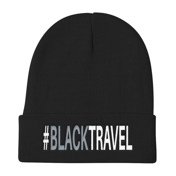 #BLACKTRAVEL EMBROIDERED KNIT BEANIE