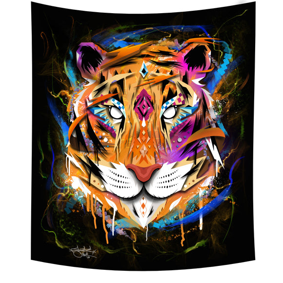 Midnight Tiger Wall tapestry