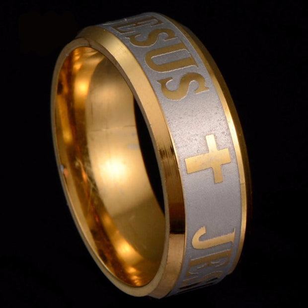 Ring Jesus Cross Large Size 8mm Silver Gold Titanium Steel - $16.95