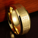 Ring Jesus Cross 316 Titanium Steel Silver Gold Color