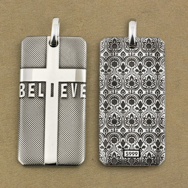Cross Dog Tag BELIEVE 925 Sterling Silver Mens Biker Pendant - $120.95