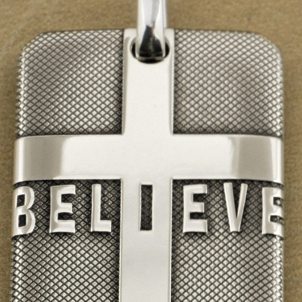 """I BELIEVE"" Cross Dog Tag - 925 Sterling Silver"