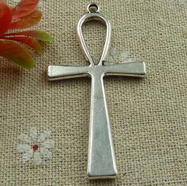 Large Cross Silver Alloy Pendant Necklace