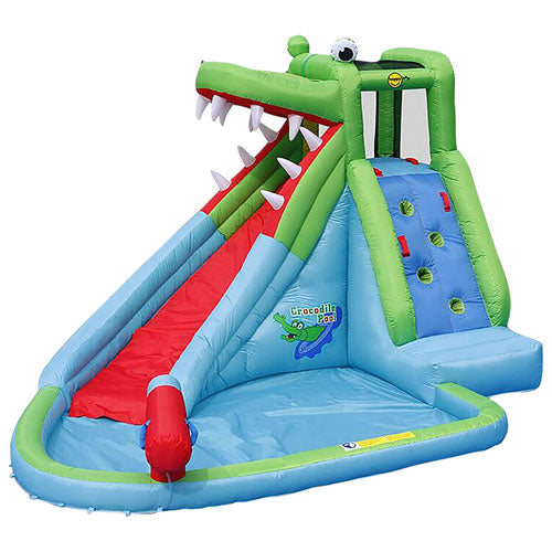 Happy Hop Inflatable Crocodile Slide Pool