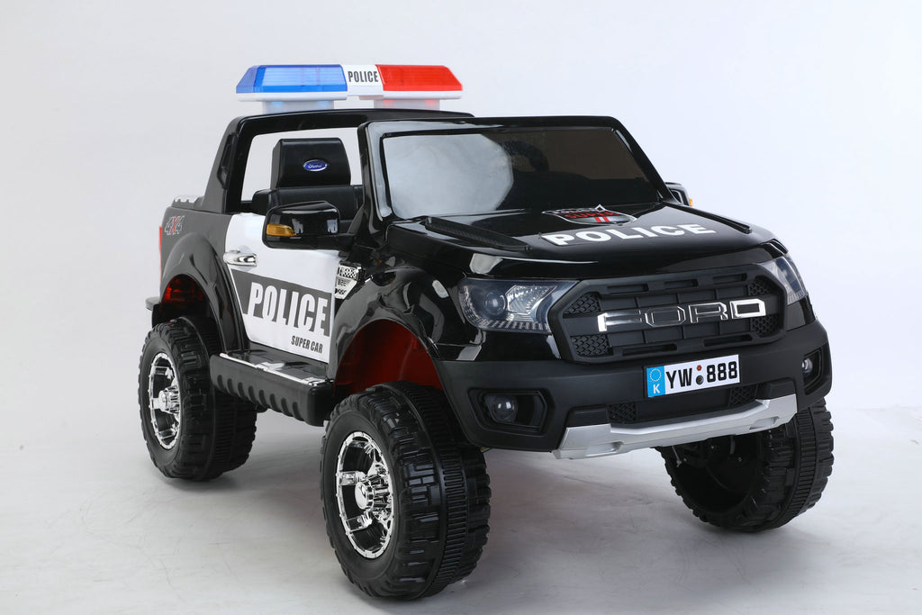 2022 12V Ford Style Police Truck   Quad 4x4   Two Leather Seats & Rubber Tires   All Wheel Suspension