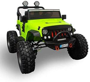 Monster Jeep w/ Leather Seat, Rubber Tires, Lights, & 3 Speeds