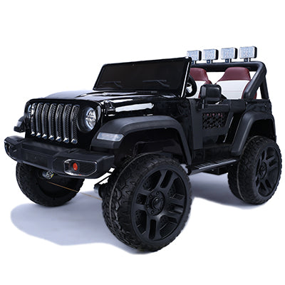 Quad 4x4 Jeep Wrangler w/ Leather Seat, Rubber Tires, & Remote Control