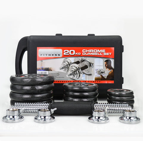 Adjustable Dumbbell - 20KG Chrome Set