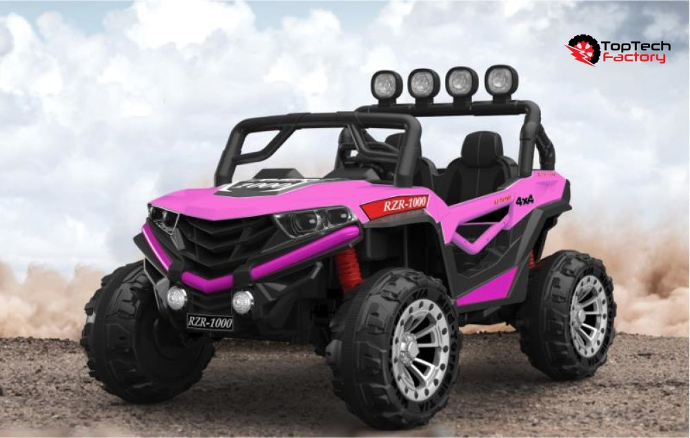 Dune Buggy 24V 2021 Model W/ Leather Seat Rubber Tires & Bluetooth Pink Ride On Cars
