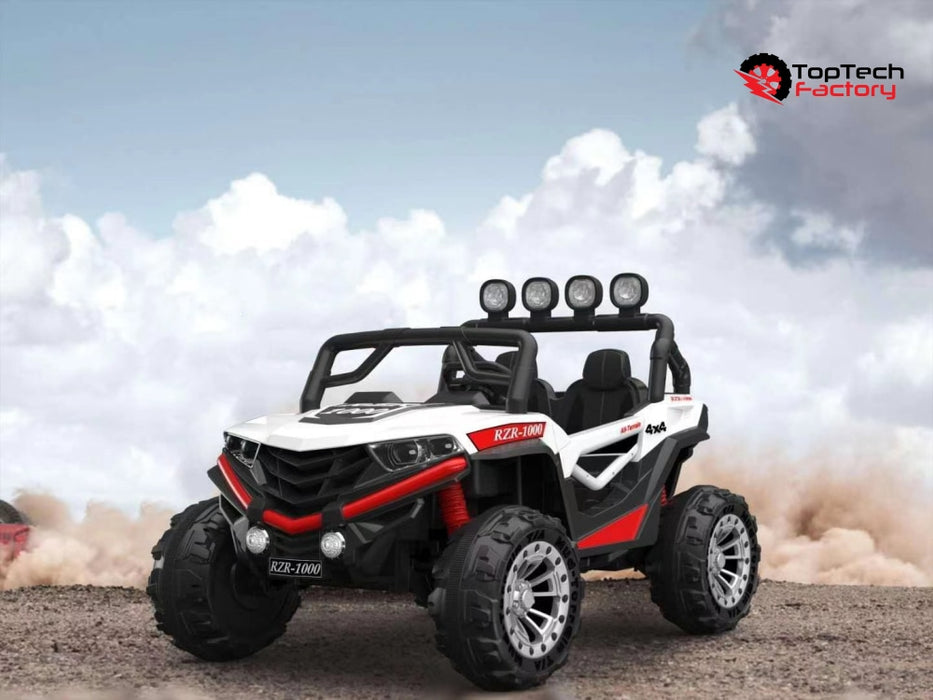 Dune Buggy 24V 2021 Model W/ Leather Seat Rubber Tires & Bluetooth White Ride On Cars