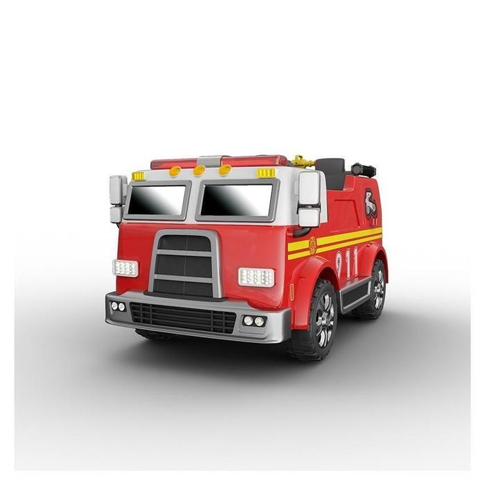Two Seater FireTruck | Leather Seats & Rubber Tires | Remote Control & MP3 Player