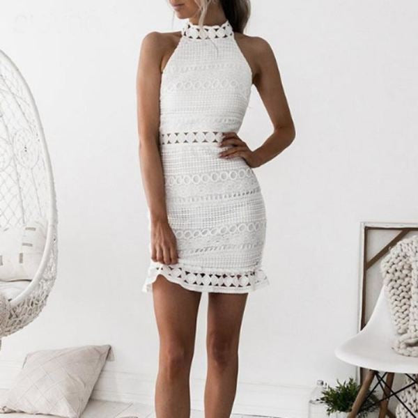 Angel Lace Mini Dress White / L Dresses 2018 Luxe Du Soir