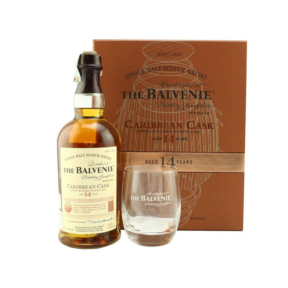 Balvenie 14 Years Caribbean Cask 70cl Gift Set FREE 1 Glass 1 Leather Coaster