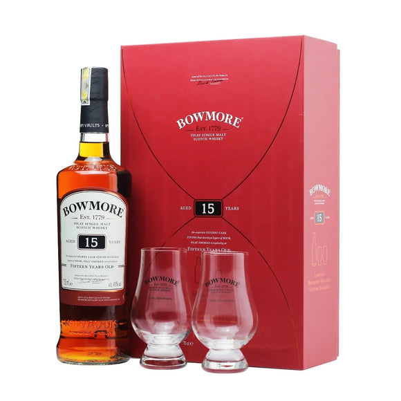Bowmore 15 Years Old Gift Set FREE 2 Whisky Glass