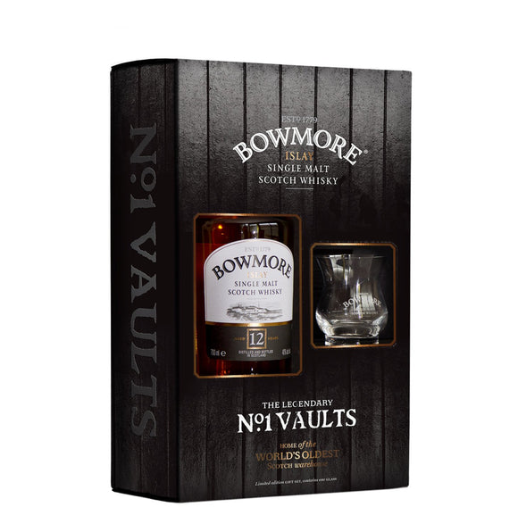 Bowmore 12 Year Old Islay Single Malt Scotch Whisky and Glass Gift Set, Scotch Whisky - The Liquor Shop Singapore