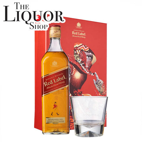 Johnnie Walker Red Label Gift Set with a Glass, Scotch Whisky - The Liquor Shop Singapore