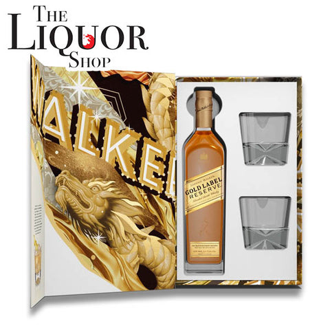 Johnnie Walker Tristan Eaton Artist Series Gold Label Gift Set with 2 Glasses, Scotch Whisky - The Liquor Shop Singapore