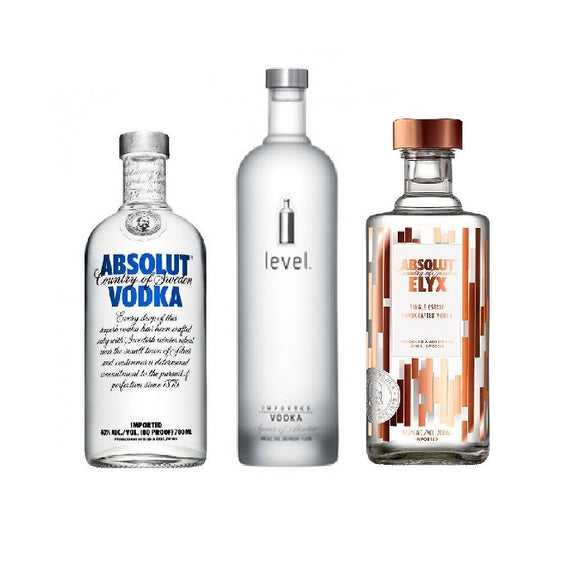 Bundle of 3 Absolut Vodka Blue, Absolut Elyx And Absolut Level