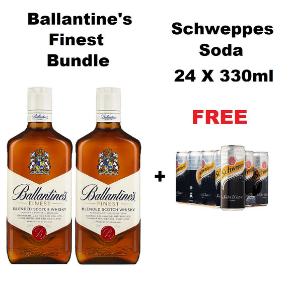 2 Bottle Ballantine's Finest Bundle (FREE) Schweppes Soda 24 Can