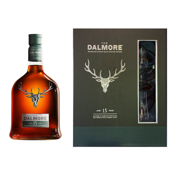 Dalmore 15 Years Old Gift Set FREE 2 Glencairn Glass