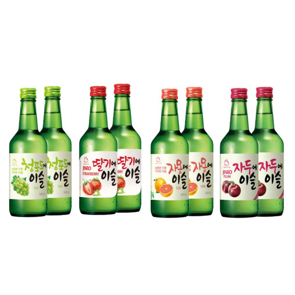 DBS E-Bazaar 2020 Bundle Of 8 X 360ml Jinro Flavoured Soju 8 Bottles Set (2 Grapefruit, 2 Strawberry, 2 Green Grape, 2 Plum)