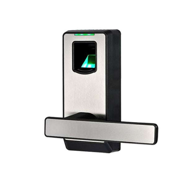 Fingerprint Door Lock Biometric Smart Lock With Mechanical Key Free-style Handle Zinc Alloy Silver And Black L&S SL16-082MS-3