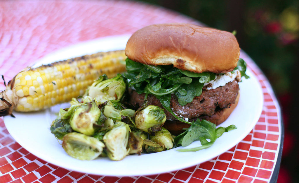 GoWild Recipe: Venison, Bacon & Brisket Burger with Jam, Goat Cheese and Arugula