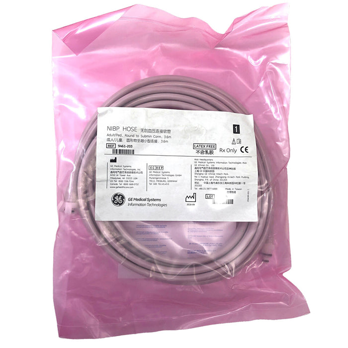 GE NiBP Adult / Pediatric Hose Tubing Sets - Round to Submin Connector (3.6m) - Even Biomedical