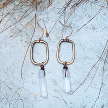 Natural Stone Geometric Drop Earrings