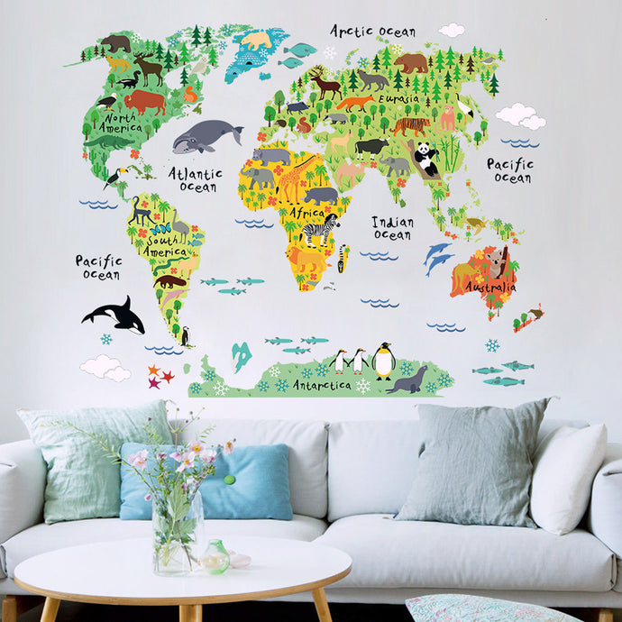 Children's World & Animals Wall Map