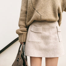 Eleanor Brief Up Double Pocket Wool Skirt