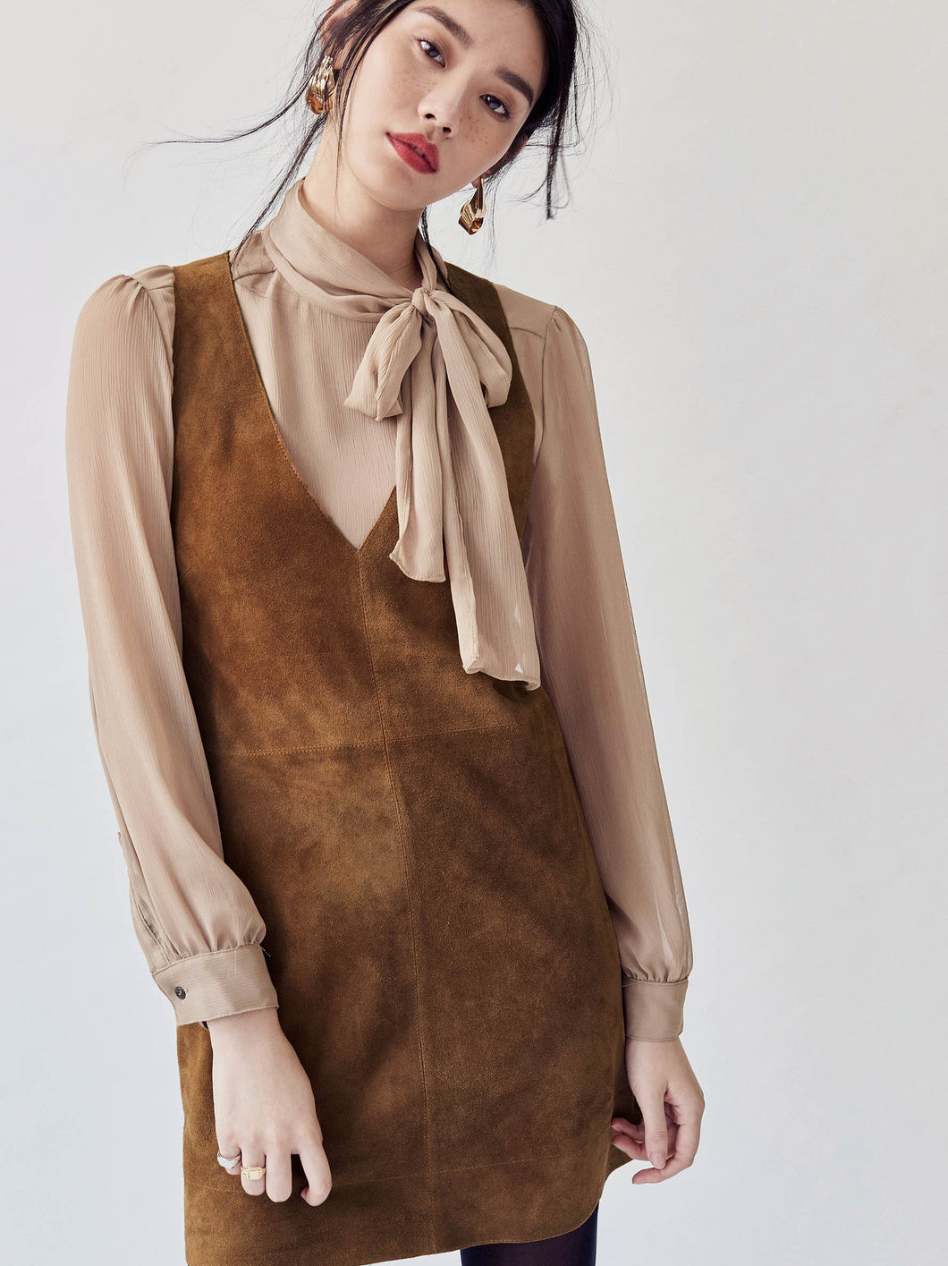 Leather Suede Winter Sleeveless Dress
