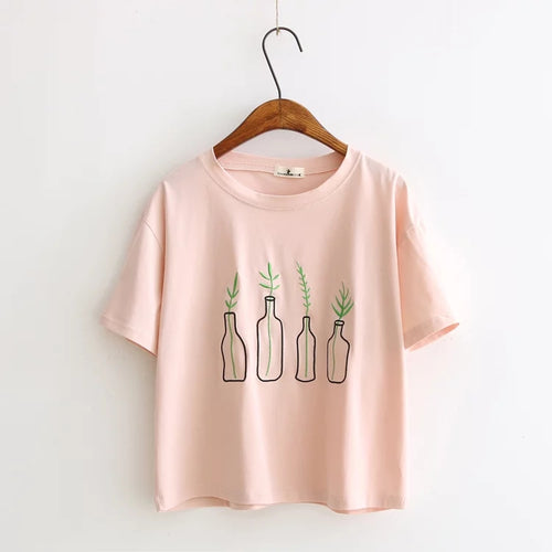 Cute Little Plants Embroidered Tee