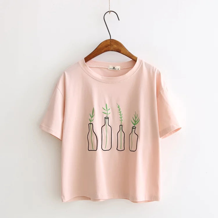 Cute & Succulent Embroidered Tee