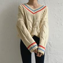 Autumn Vibes Retro Knitted Varsity Sweater