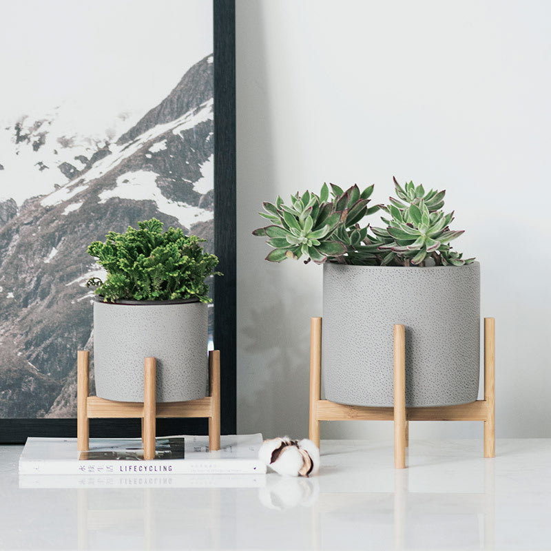 Concrete And Solid Wood Industrial Style Flower Pot And