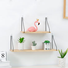 Nordic Metal and Wood Hanging Wall Shelves